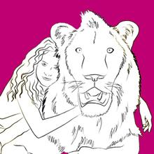 Coloriage : Mia et le lion blanc