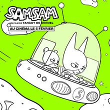 Coloriage Samsam dans sa samsoucoupe