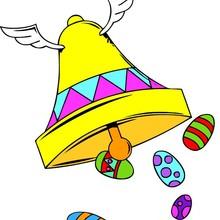 Coloriage d'une cloche et des oeufs de Pâques