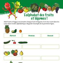 Jeu : L'alphabet des fruits et légumes