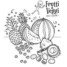 Coloriages de fruits et légumes d'automne avec Frutti et Veggi !