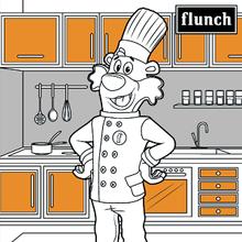 Coloriage : Flunchy dans sa cuisine