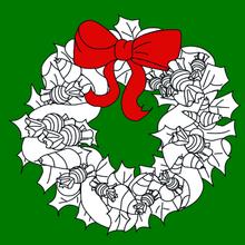 Coloriage jolie couronne Noël