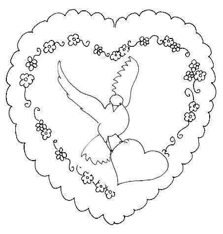 Coloriages coeur et colombe - Dessiner un oiseau ...