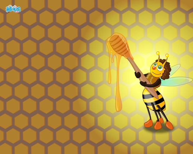 Abeille goûtant du miel