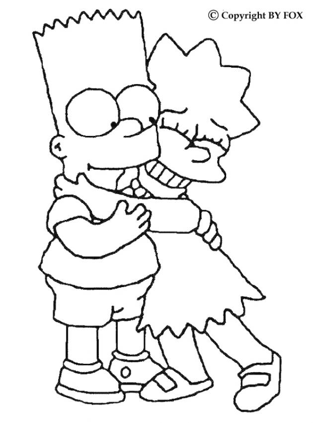 Coloriages coloriage de bart et lisa - Dessin de bart ...