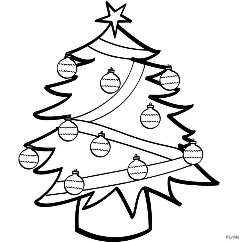 Coloriages sapin d cor for Decoration de noel dessin