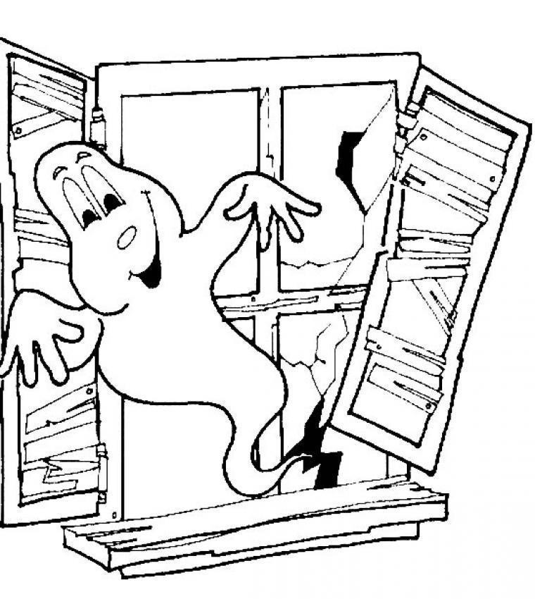 Coloriage d'Halloween : Coloriage d'un gentil fantôme