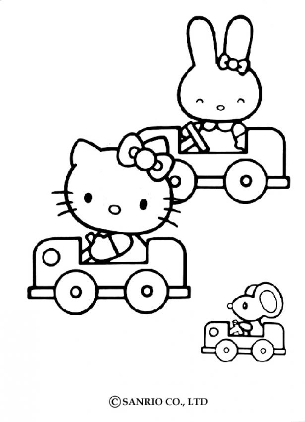 Coloriage Pour Fille Hello Kitty.Coloriages Coloriage De Hello Kitty En Voiture Fr Hellokids Com