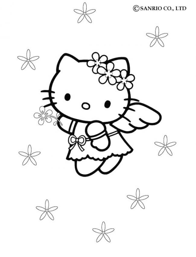 Coloriages coloriage de hello kitty petit ange - Coloriage hello kitty jeux ...