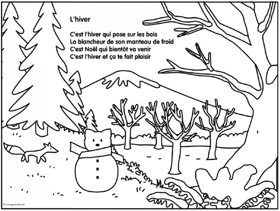 Coloriages coloriage de la saison d 39 hiver - Coloriage hivers ...