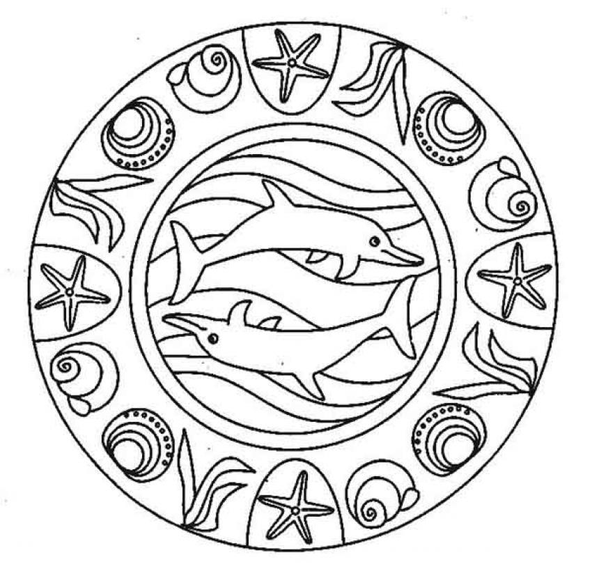 Coloriage Imprimer Mandala Dauphin.Coloriage A Imprimer Mandala Dauphin