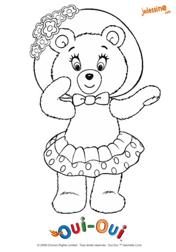 Coloriages coloriage de mirou et son beau chapeau - Dessin ours en peluche ...