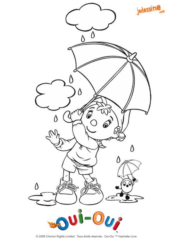 Coloriage de Oui-Oui sous son parapluie