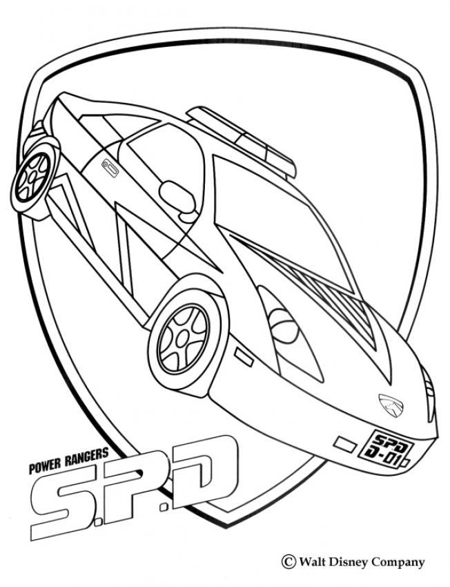 Coloriage Power Rangers : La voiture des justiciers