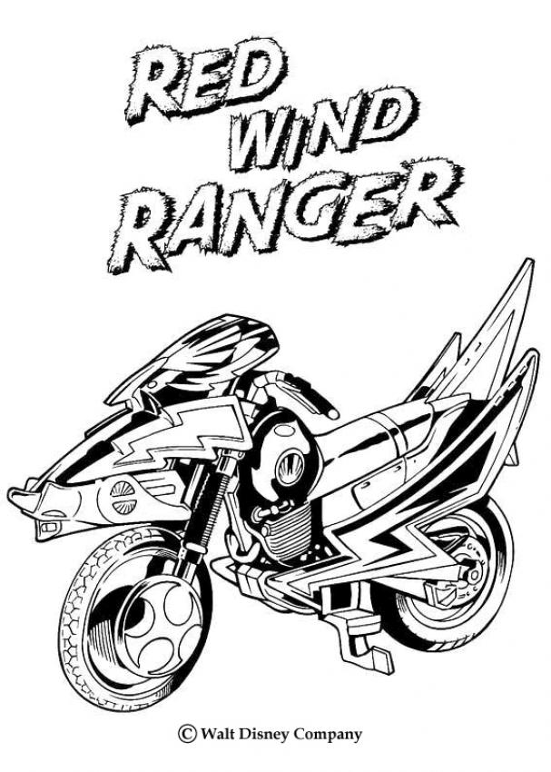 Coloriages moto red wind ranger - Dessin power rangers ...