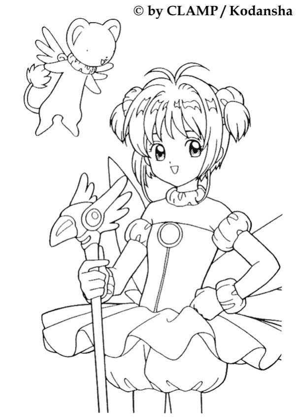 Coloriage de Sakura princesse de Clow