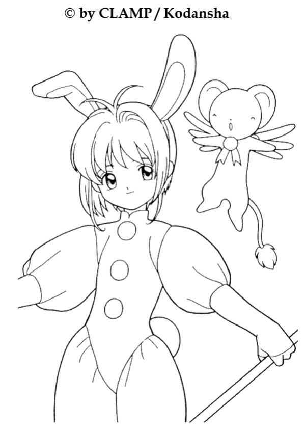 Coloriage de Sakura déguisée en lapin