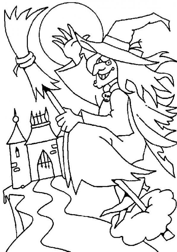 Coloriage d'Halloween : Coloriage d'une sorcière sur son balai