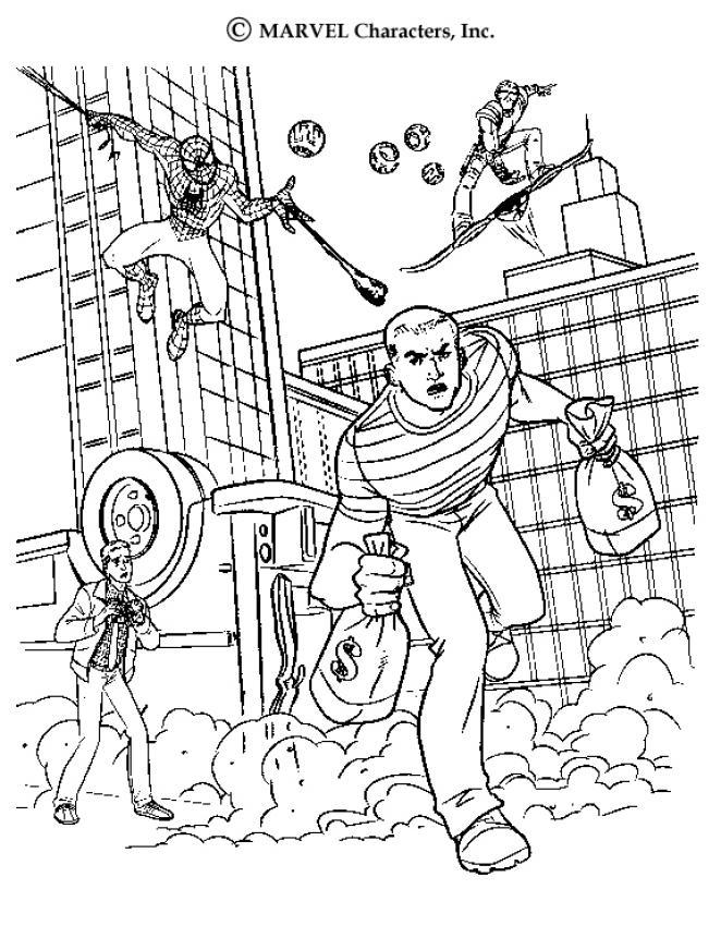 Coloriage : L'homme de sable vole une banque