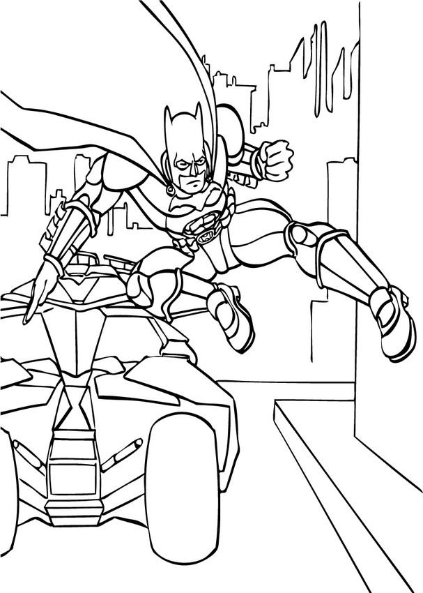Coloriages batman saute de la batmobile - fr.hellokids.com