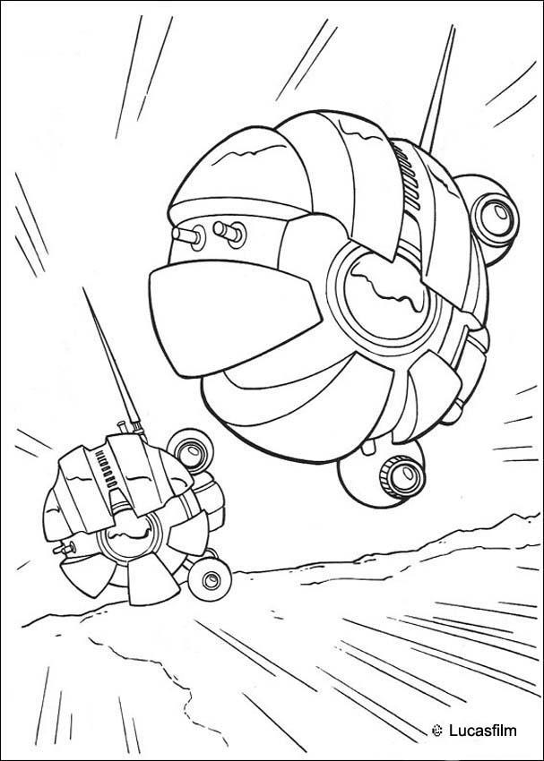 coloriage star wars des droides sondes de dark maul