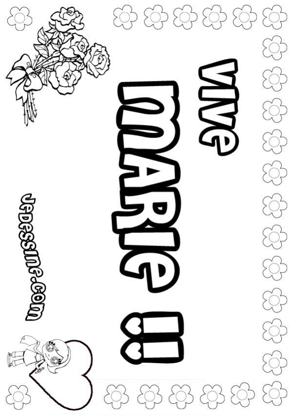Coloriage prenoms lettre m marie - Coloriage marie ...