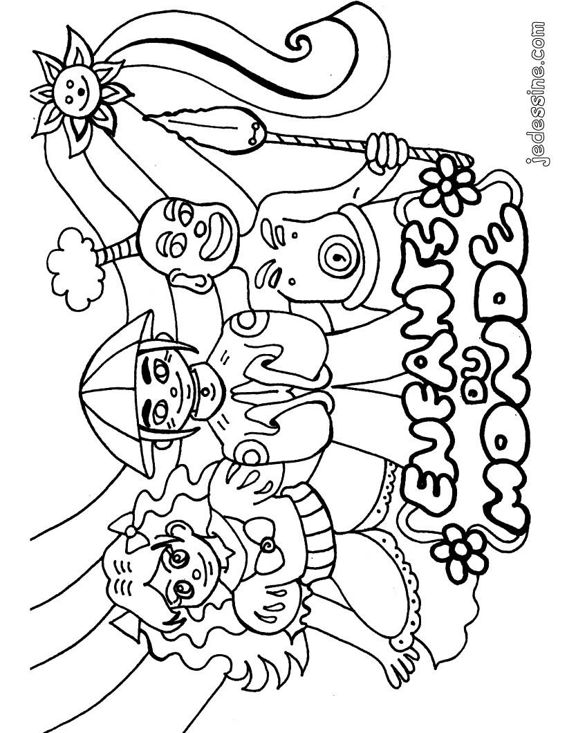 Enfant tour du monde colorier - Dessin enfant a imprimer ...