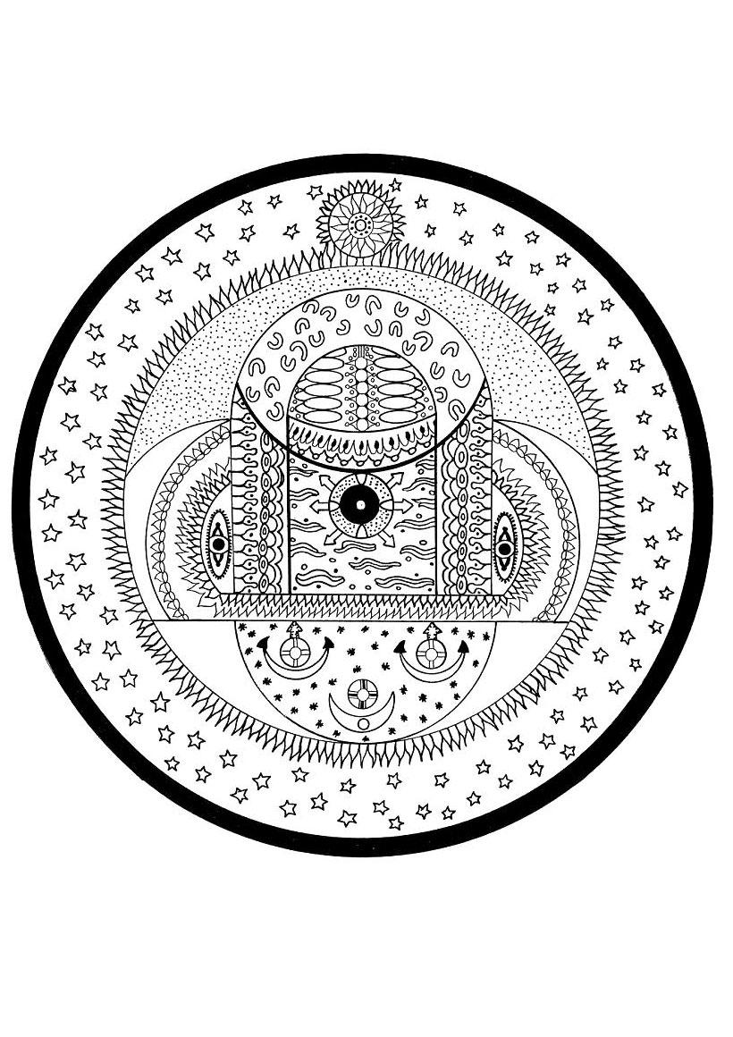 Coloriages Coloriage D Un Mandala D Inde Spheres Cosmiques Fr