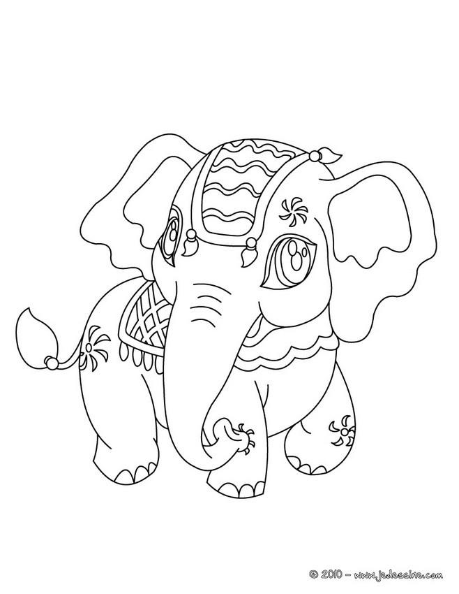 Coloriages Coloriage D Un Elephant Kawaii Fr Hellokids Com