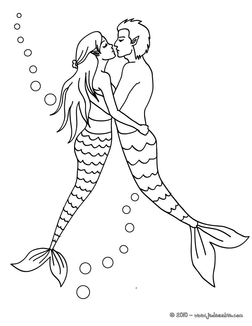 Coloriages Deux Sirenes Amoureux Fr Hellokids Com