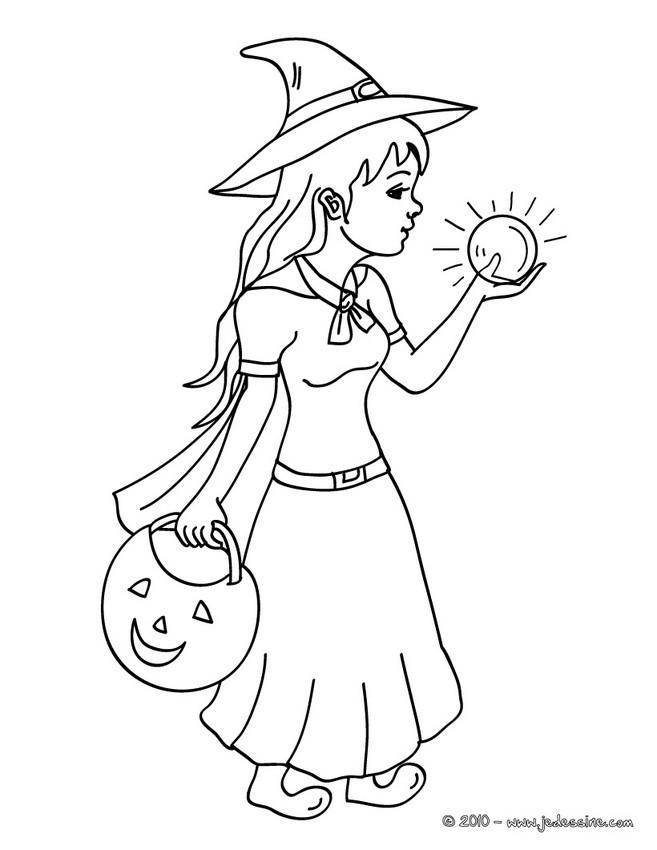 coloriage d une sorciere et de sa boule de cristal