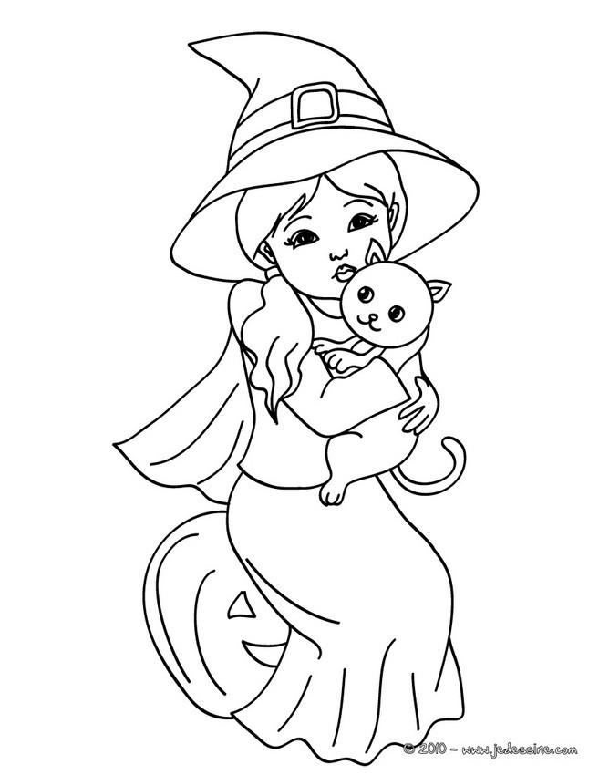 coloriage sorciere et son chat