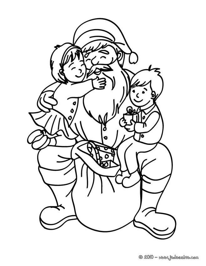 Coloriages Papa Noel Et Les Enfants A Imprimer Fr Hellokids Com