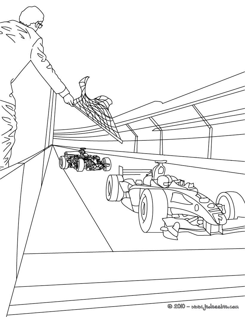 coloriage depart voiture de course a imprimer