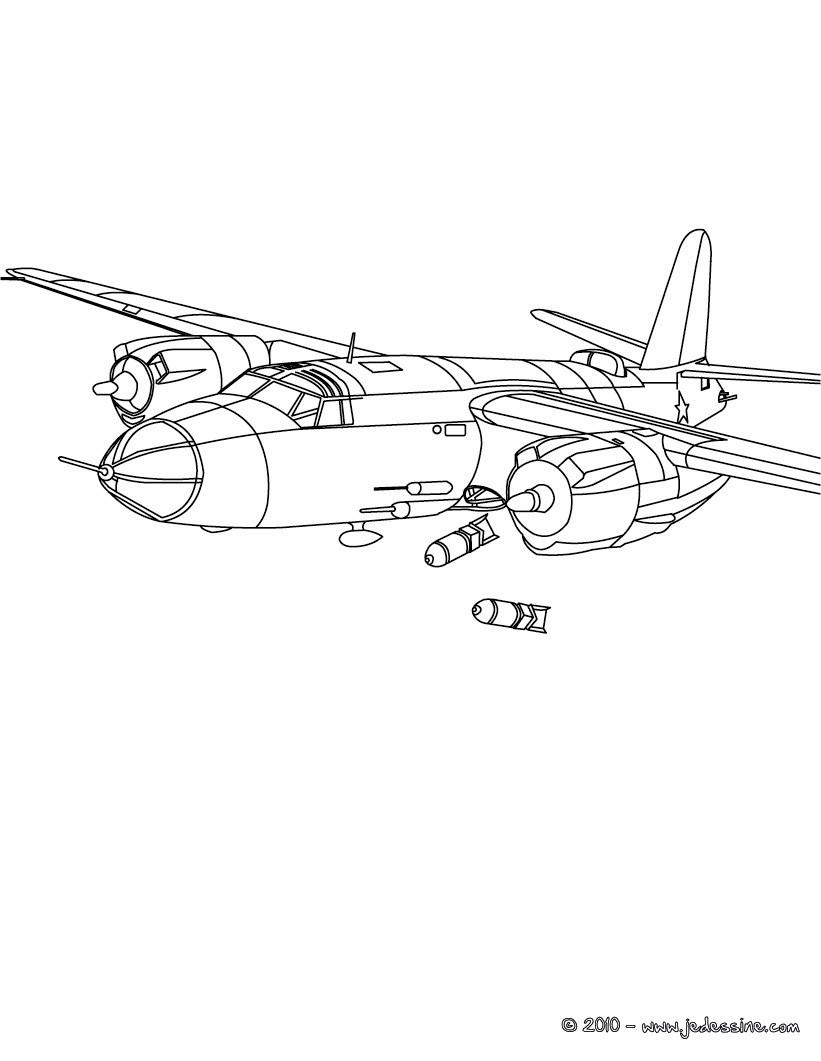 Coloriages Coloriage Avion De Guerre A L Attaque Fr Hellokids Com