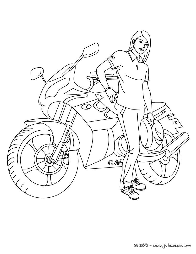 fille a la moto a colorier