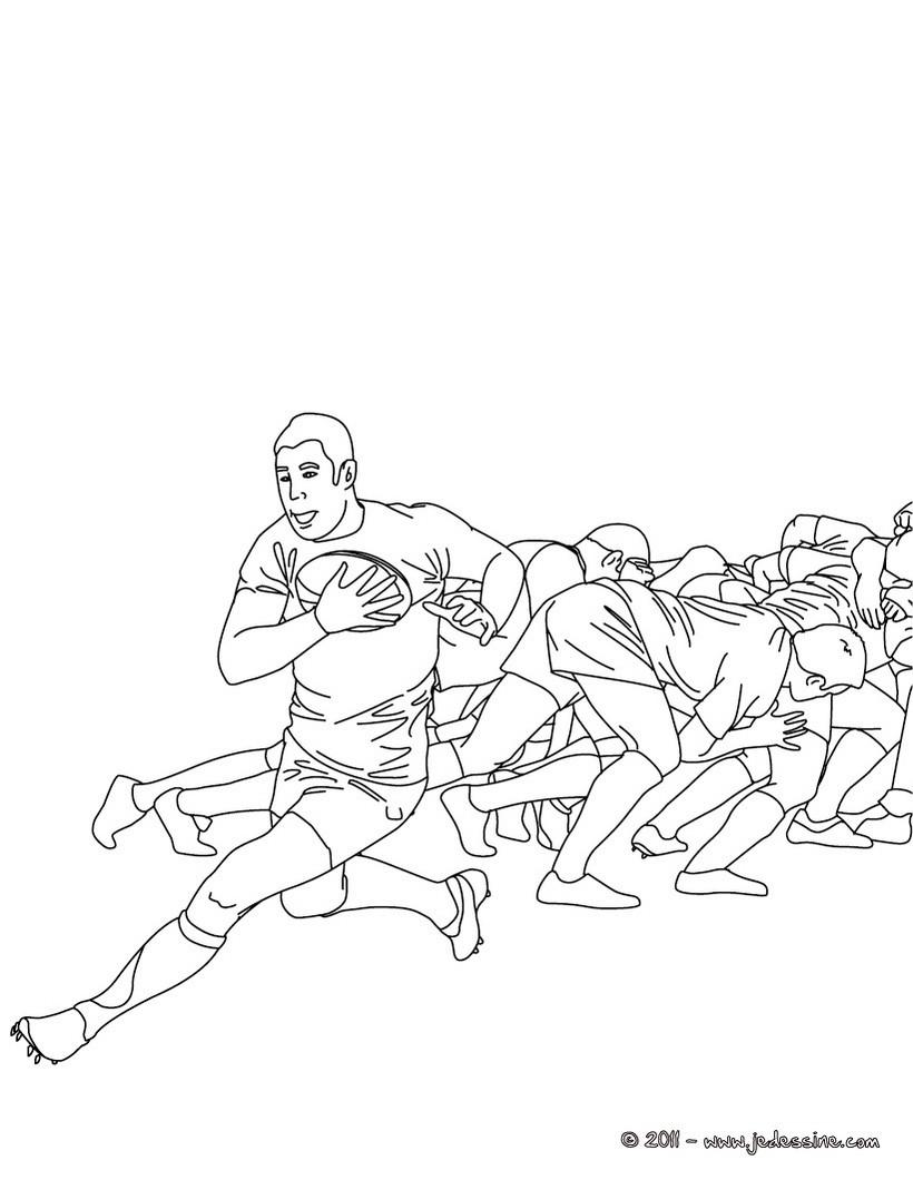 coloriage d une sortie de melee au rugby