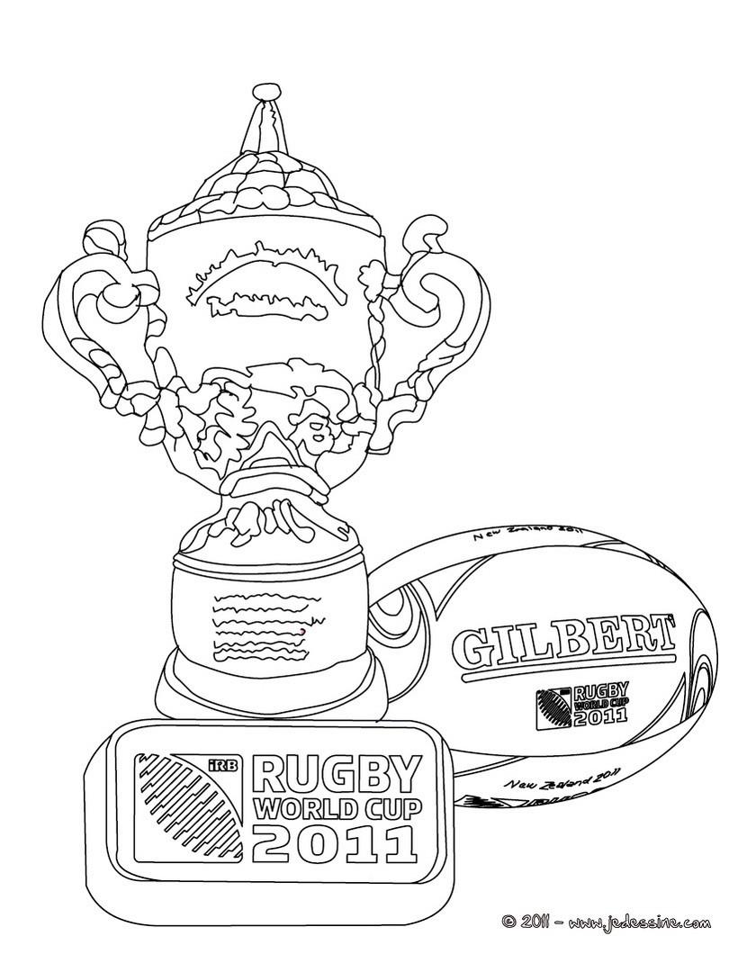 coloriage de la coupe du monde et des trophees de rugby