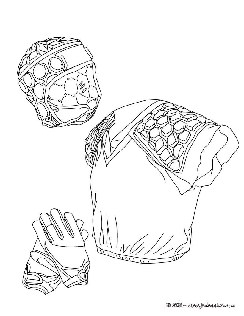 coloriage des gants de la protection et du casque de rugby