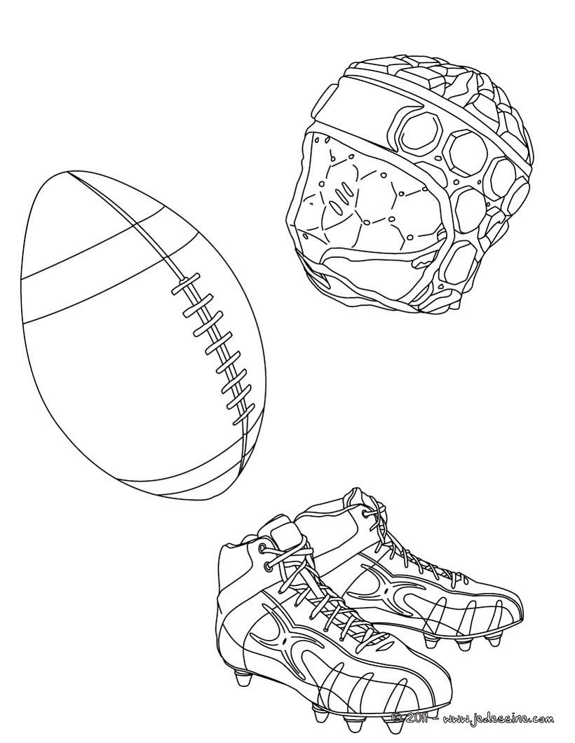 coloriage du ballon des chaussures et du casque de rugby