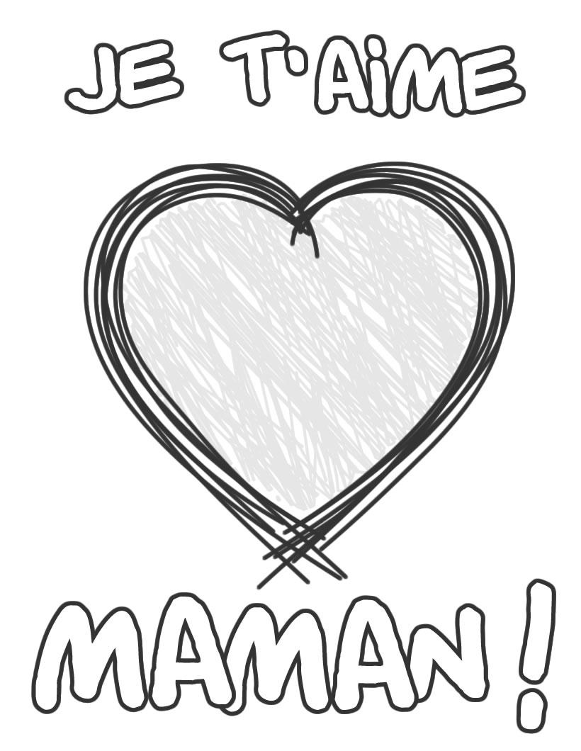 coloriage je t aime maman