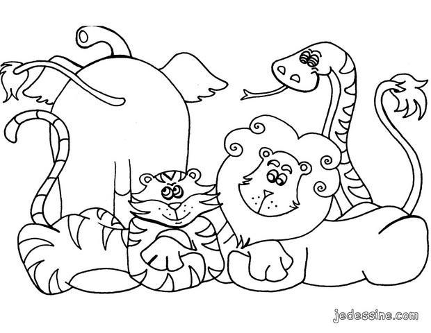 Coloriages Coloriage Des Animaux De La Jungle Fr Hellokids Com
