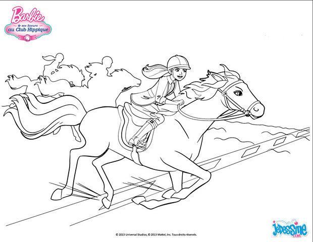 coloriages barbie et son cheval au galop  frhellokids
