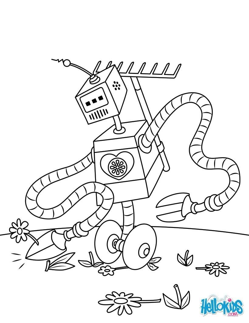 Coloriages robot jardinier - fr.hellokids.com